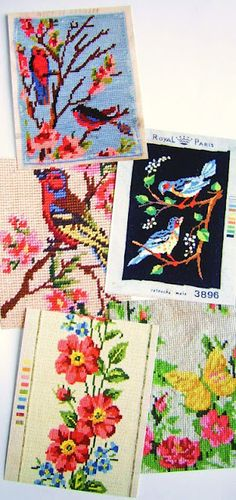 Beautiful needlepoint- vintage birds!