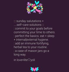A little self-care reminder for myself and anyone who could use it. Write it down in commitment so it can manifest. __  Commit to your goals before committing your time to others. What have you been  putting off under the auspices of doing this for others? What have you been procrastinating on because your meeting with that or this person? And why is doing that more important than finishing what your started? How does it serve you?  __  Perfect the basics.  Eat + sleep + internal|external…