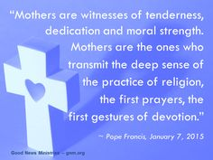 Let´s pray for our mothers! Read more at: www.news.va/en/news/pope-thanks-mothers-for-their-precious-role