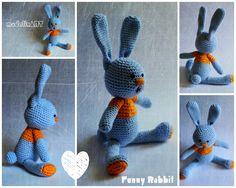BLUE crochet rabbit :)