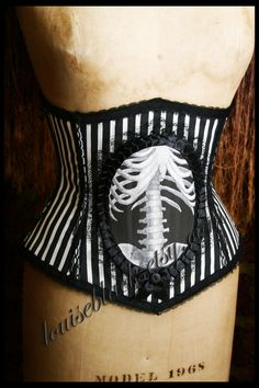 SALE Striped Victorian Circus with Skeleton Cameo Corset by Louise Black. $143.20, via Etsy.