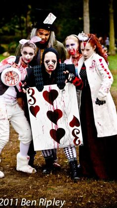 Alice in Zombieland group. Ottawa Zombie walk 2011. I'm the Queen of Hearts. I designed the makeup for myself, the Mad Hatter and The 3 of hearts.