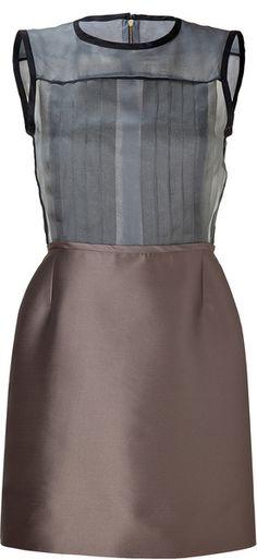 Victoria, Victoria Beckham Gray Grey Pleated Front Silk Organza Dress