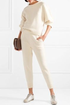 T by Alexander Wang - Merino Wool Track Pants - Ivory Classy Outfits, Casual Outfits, Winter Outfits, Alexander Wang, Mode Simple, Simple Style, Monochrome Outfit, Neutral Outfit, Matching Sweaters