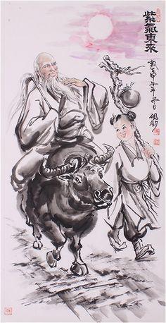 Artwork Taoism Portrait painting Spiritual paintings Sage Laozi Painting - US $1544.00