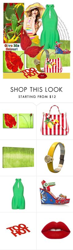 """Step it up a notch, bold color fashions are a trending hit"" by linda-caricofe ❤ liked on Polyvore featuring Dolce&Gabbana, ArtWall, Rolex, Topshop, Lime Crime, trending, fashiontrend, fashionset and trendreport"