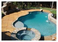 Resurfaced concrete pool deck.  Distinctive Concrete Surfaces Alpharetta, GA Concrete Resurfacing, Concrete Pool, Pools, New Homes, Deck, Pizza, Decorating, Garden, Outdoor Decor