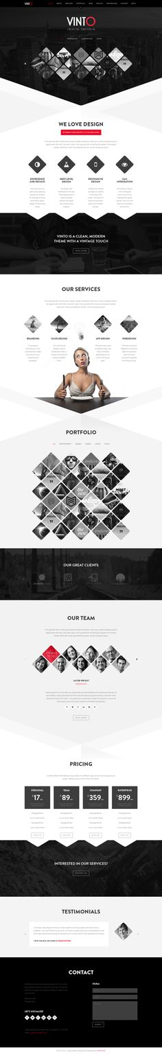 Vinto - One Page HTML Template by WordPress Design Awards, via Behance