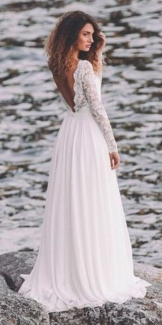 simple wedding dresses beach lace long sleeves straight open back light and lace couture