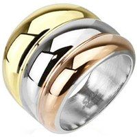 Give this ring as a gift to a loved one or buy it for yourself and experience the joy of wearing a unique ring. The three tone stainless steel ring provides you with a distinctive look and makes you stand out from the crowd. Goes well with any dress and can be worn by both men and women of all ages.