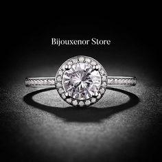 1 Carat D Enhanced Halo White Gold Diamond Ring for sale online Wedding Engagement, Diamond Engagement Rings, Wedding Rings, 1 Carat, Round Cut Diamond, White Gold, Halo, Diamonds, Jewelry