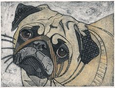 Pug Pictures And Prints   Bonnie Murray Prints: Pug (Original Collagraph of Short-Muzzled Dog)