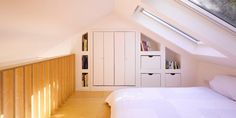 Marvelous Small Attic Bedroom With Sloping Ceiling Loft Decorating Ideas : Country Home Design, Mountain Home Design, Modern Contemporary Home Design, Simple Small House Interior Design Small Loft Bedroom, Small Bedroom Designs, Loft Room, Attic Loft, Attic Office, Small Bedrooms, Garage Attic, Attic House, Attic Ladder