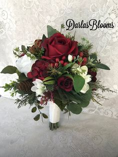 Pretty bouquets for the bridesmaids! Christmas Wedding Bouquets, Winter Bridal Bouquets, Silk Wedding Bouquets, Winter Bouquet, Floral Bouquets, Bridesmaid Bouquet, Bridesmaids, Flower Decorations, Wedding Decorations