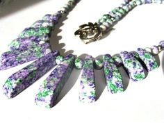 Synthetic Turquoise Fan Necklace Lilac And Green Cleopatra Women Fashion Jewelry