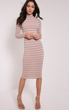 b1dbd9aef7e Polyester Polo Neck Casual Striped Dresses for Women