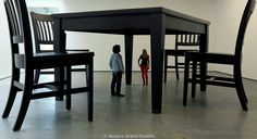 Visitors look at a monumental sculpture by artist Robert Therrien in the newly opened Metropolitan Arts Centre in Belfast April REUTERS/Cathal McNaughton Colossal Art, Illusion Art, World Best Photos, American Art, Dining Bench, Minimalism, Street Art, Cool Stuff, Belfast