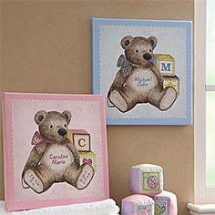 Teddy Bear Personalized Baby Canvas Art Nursery Decor