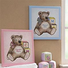 Teddy Bear Personalized Baby Canvas Art Nursery Decor