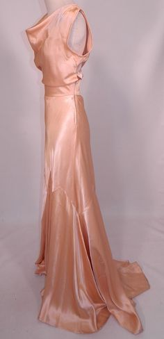 Vintage 1930s Peach Pastel Silk Satin Bias Cut Dress Evening Gown Train Skirt