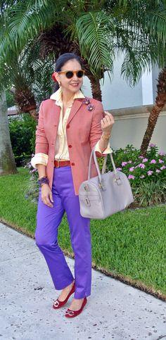 July 3, 2013 http://www.akeytothearmoire.com/post/54513178988/berry-colors #purple #berry colors #red #lavender #gold #yellow sunglasses #yellow #stripes #blazer #enamel flower pins @Monet Tiedemann #Isaia Napoli #L'Ancora Portofino #Coach #Ralph Lauren #Polo #Fendi #amethyst #Juicy Couture flats #Cole Haan #pale green