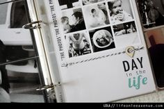 Day in the Life idea. Print large card on card stock then add printed photo sheet.