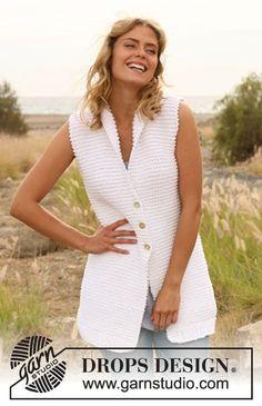 Knitted DROPS vest in garter st in Ice. Size: S - XXXL. Free pattern by DROPS Design.