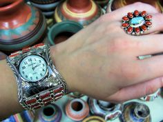 Native American Coral Cuff Watch and Navajo Coral with Turquoise Ring! www.silvertribe.com