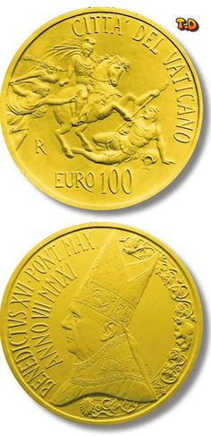 N♡T.100 euro: The Stanze of Raphael - The Room of Heliodorus Country:	Vatican City  Mintage year:	2011 Issue date:	04.06.2011 Face value:	100 euro Diameter:	35.00 mm Weight:	30.00 g Alloy:	Gold Quality:	Proof Mintage:	1,100 pc proof Design:	Daniela Fusco Mint:	IPZS (Italia) Issue price:	1540 euro