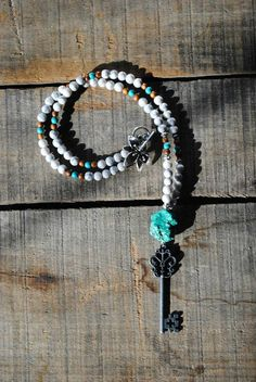 Turquoise howlite key pendant necklace,  long necklace,  bohemian necklace, gypsy hippie style, layering piece, beaded