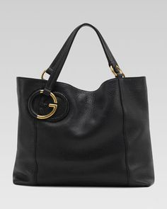 Twill+Leather+Medium+Shoulder+Bag,+Black+by+Gucci+at+Neiman+Marcus.