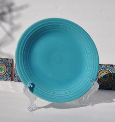 RESERVED FOR BECKY - Vintage Fiestaware Plate 10\  Dinner Plate in Turquoise Art Deco Dishes Homer Laughlin Company & Vintage Fiestaware Plate 10-Inch Dinner Plate Art Deco Design ...