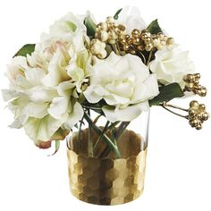 Paper Whites Rose & Gold Berry in Honeycomb Glass - White (£26) ❤ liked on Polyvore featuring home, home decor, handmade home decor, floral home decor, glass home decor, white home decor and white home accessories