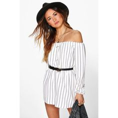 Boohoo Eileen Striped Off The Shoulder Playsuit featuring polyvore, women's fashion, clothing, jumpsuits, rompers, ivory, long-sleeve rompers, striped romper, striped jersey, stripe romper and long-sleeve romper