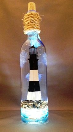 Lighthouse Handpainted Wine Bottle with Soft by DadsGlassGarden