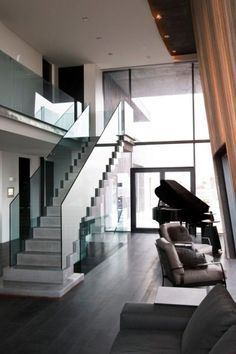 Modern Contemporary House by Gudmundur Jonsson in Iceland - Interior Modern Home Interior Design, Modern Contemporary Homes, Modern House Design, Interior Architecture, Interior And Exterior, Stairs Architecture, Design Interiors, Escalier Design, Staircase Design
