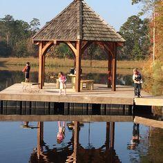 Timber frame gazebo on a dock!