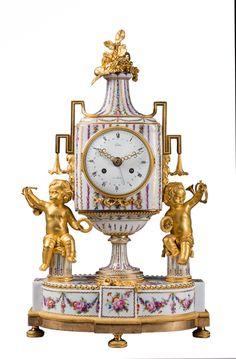 François-Louis Godon - pendule de cheminée en porcelaine et bronze, époque Louis XVI
