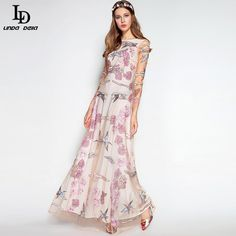 Long Sleeve Noble Voile Sequined Gold Line Flower Embroidery Floor Length Dress Great, huh? www.sukclothes.co... #shop #beauty #Woman's fashion #Products