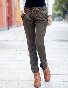 Women Korea Skinny Shown Thin Casual Green Pants S/M/L@IM2022gr