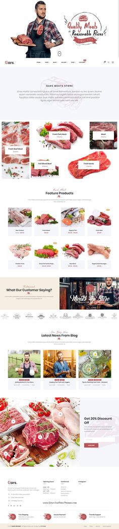 Oars is clean and modern design 8in1 responsive WooCommerce WordPress theme for creative #meat, #butcher , organic store and fresh food #shop eCommerce website to live preview & download click on Visit