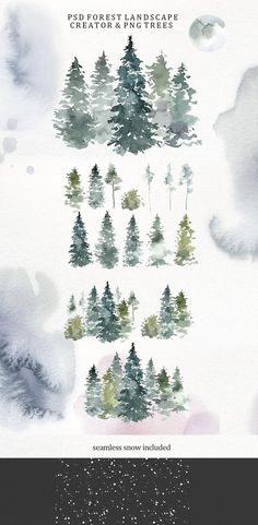 Pine Tree Art, Pine Trees Forest, Pine Tree Tattoo, Watercolor Clipart, Watercolor Trees, Watercolor Landscape, Tattoo Watercolor, Watercolor Portraits, Watercolor Painting