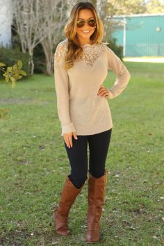 Round & Around & Away We Go Sweater: Taupe