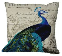 This pillow cover is made from our own original graphic art design, printed directly onto cotton canvas fabric with a natural linen cotton Custom Printed Fabric, Printing On Fabric, Peacock Christmas Tree, Peacock Pillow, Peacock Decor, Peacock Colors, Fabric Envelope, Blue Pillows, Throw Pillows