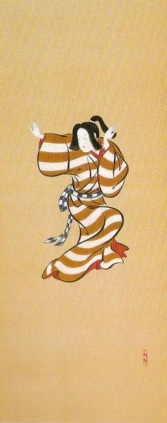 Title:元禄踊図押絵貼屏風 部分 Genroku dancers Artist:中野其玉 Nakano Kigyoku
