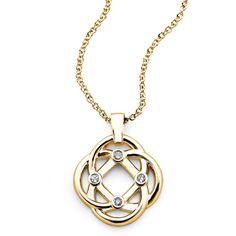 Four Corners Knot Pendant, 14K Yellow Gold and Diamond