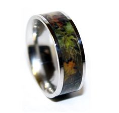 Camo Wedding Ring - Titanium Wedding Band - Camo Ring (Sz 7-13) 8mm wide band for sizes 8-13 6mm wide band for size 7  This ring is way cooler than it looks in the photo. I love it, it gives that rough outdoors look all while serving as a wedding band :)