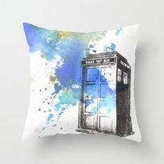 Doctor Who Tardis Throw Pillow by Idillard