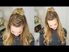 Triple French Braid Double Waterfall Mini Bun | Missy Sue - YouTube