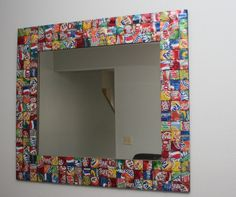 Recycled Soda Can Mirror by Ecoolectic on Etsy, $150.00/ This is so cool!!